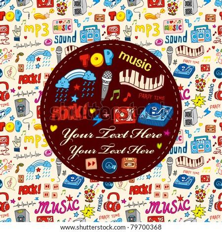 cartoon music party card