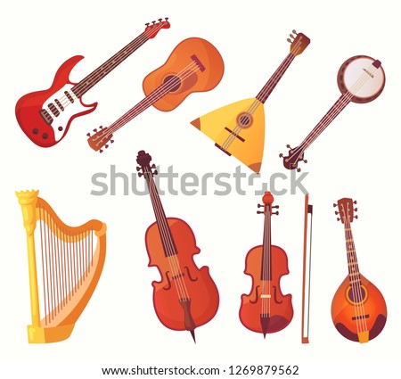 Cartoon musical instruments. Guitars music instrument. Orchestra classical jazz or rock acoustic string instrumentation bass, balalaika and bagpipe vector isolated icons collection