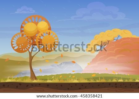 cartoon nature autumn landscape