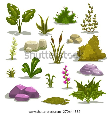 cartoon nature elements  vector