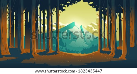 Cartoon nature landscape with mountain in forest deciduous trees trunks clearance. High rock and fluffy clouds, evening sunlight, scenery view background, summer or spring wood vector illustration