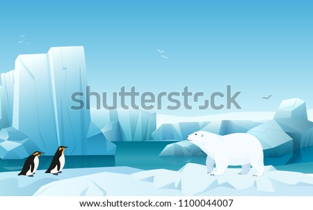 Cartoon nature winter arctic ice landscape with iceberg, snow mountains hills. White Bear and penguins. Vector game style illustration.