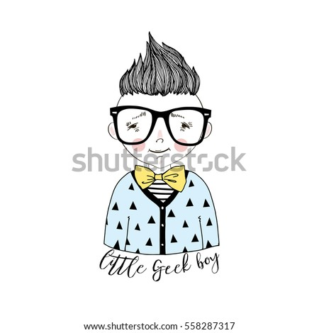 cartoon nerdy boy portrait