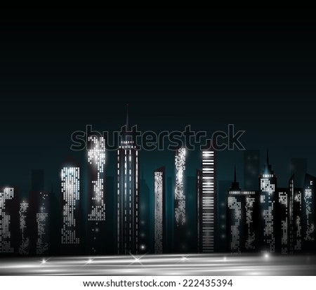 Cartoon City Skyline Night Cartoon Night City Skyline