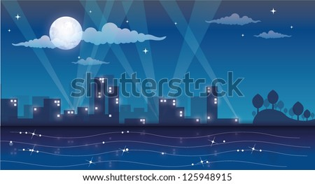 cartoon night cityscape