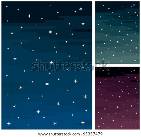 cartoon night sky in 3 color