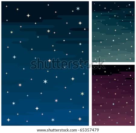 cartoon night sky in 3 color