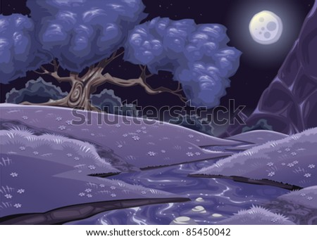 Cartoon nightly landscape with stream. Vector illustration.