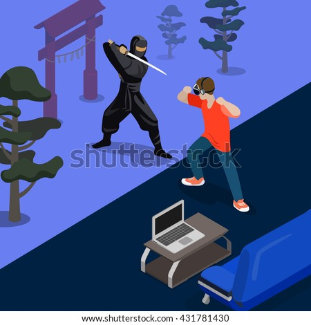 cartoon ninja fight game screen