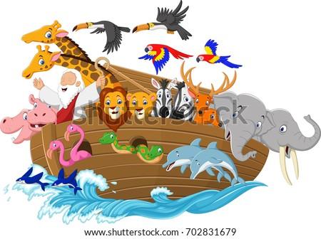 cartoon noah's ark isolated on