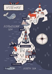 Cartoon Norway vector map. Travel Scandinavia concept. Nordic culture elements and landmarks set. Lighthouse, flora and fauna, church, skiing, scandinavian house. Hand drawn doodle style illustration.