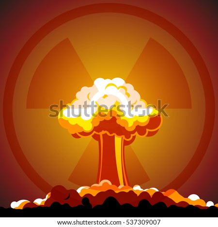 cartoon nuclear explosion with