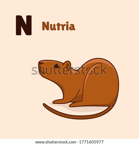 Cartoon nutria, cute character for children. Vector illustration in cartoon style for abc book, poster, postcard. Animal alphabet - letter N. Foto stock ©