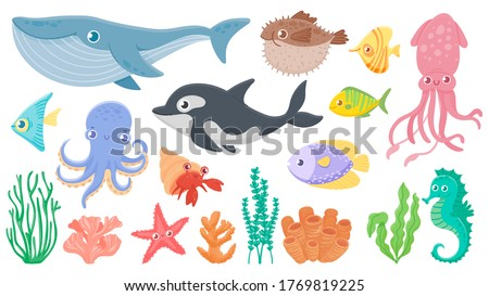 Cartoon ocean animals. Funny blue whale, cute hedgehog fish and orca. Octopus, squid and seahorse. Underwater sea life vector illustration set. Ocean fauna, dolphin seahorse, octopus and jellyfish stock photo
