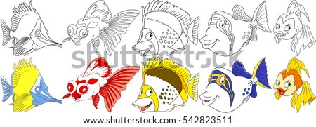 cartoon ocean animals set