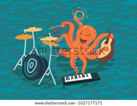 cartoon octopus plays music