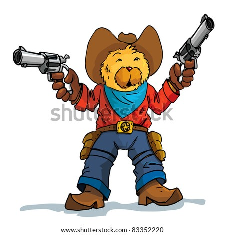 Cartoon of a bear cowboy with guns drawn. Isolated on white - stock vector
