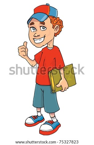 Cartoon of a boy holding a book. Isolated on white