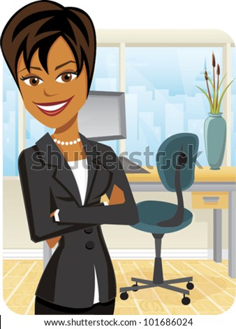 Cartoon of a business woman with arms crossed