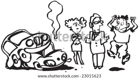 Cartoon of a car accident + lawyer +