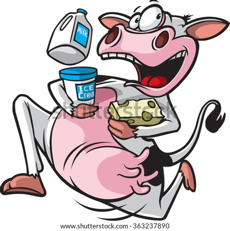 cartoon of a cow running with