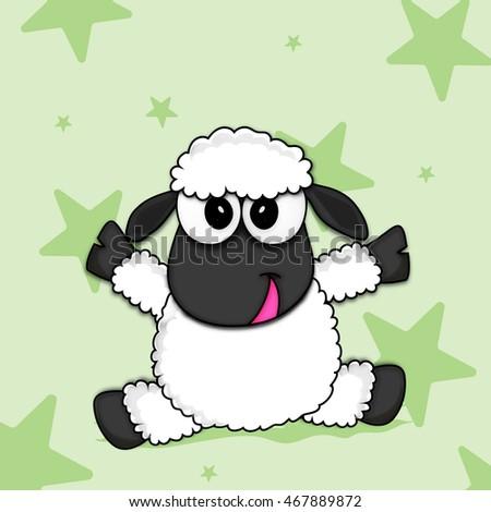 cartoon of a cute baby sheep on