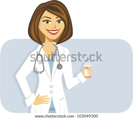 cartoon of a female doctor with