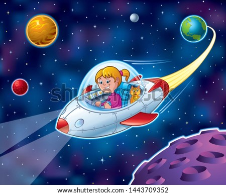 Cartoon of a girl flying from Earth in a spaceship in outer space with stars and planets in the background while her cat is looking out the window and looking surprised.