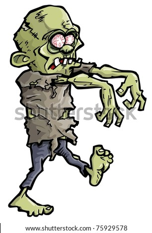Cartoon of a green zombie hand coming out of the earth