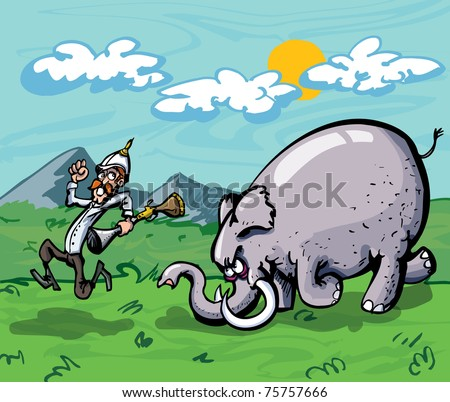 Cartoon of a hunter chased by an elephant. Mountains and sky in the back ground