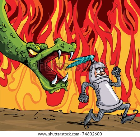 Cartoon of a knight running from a fierce dragon. Fire in the background