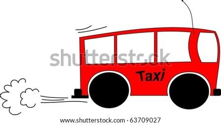 Cartoon of a mini bus taxi racing to a destination - stock vector