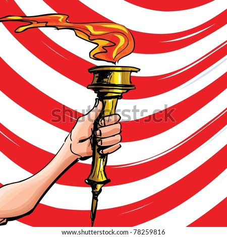 Cartoon of a Olympic torch held high. Red stripes behind