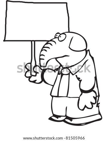 cartoon of a republican elephant with a blank sign