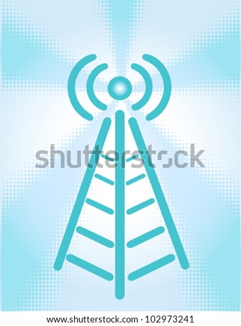 Cartoon of a wirless signal coming from a tower