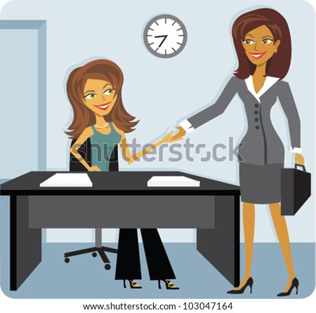 Cartoon of a woman interviewing for a job