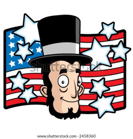 Cartoon of Abe Lincoln with a flag and stars behind him.