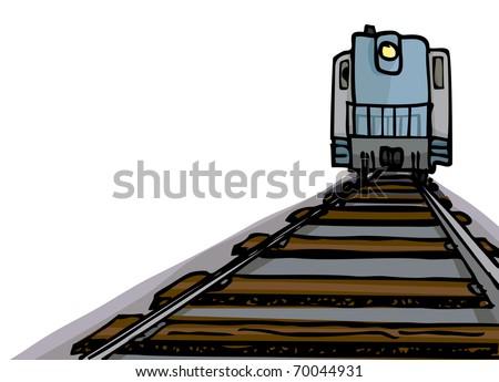 Cartoon of an oncoming diesel locomotive with headlight on tracks.