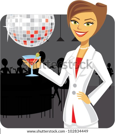 Cartoon of businessWoman drinking a martini in a bar