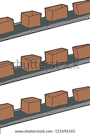 Cartoon of cardboard boxes on conveyor belts