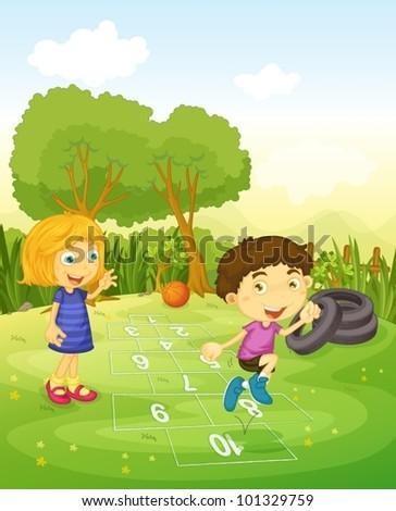 Cartoon of children playing hopscotch - stock vector