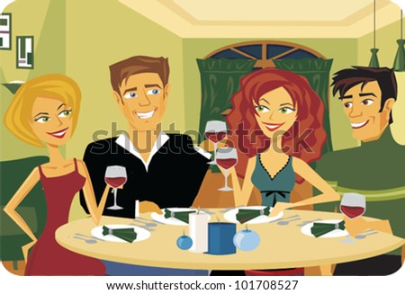 Cartoon Dinner Party
