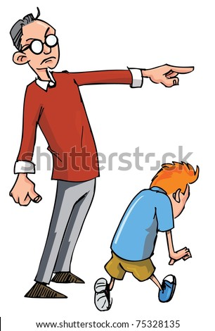 Cartoon of Dad scolding his son and sending him away
