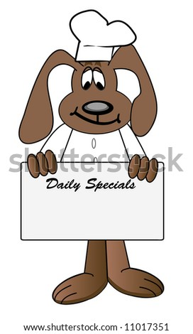 cartoon of dog chef holding daily specials menu sign - vector
