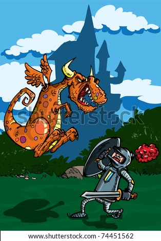 Cartoon of dragon attacking a knight. A castle in the background