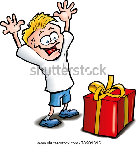 Cartoon of Excited kid receiving a gift. Isolated on white