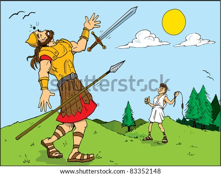 Cartoon of Goliath defeated by David. Bible story