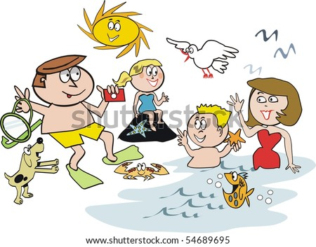 Cartoon of happy family at beach swimming and snorkeling.