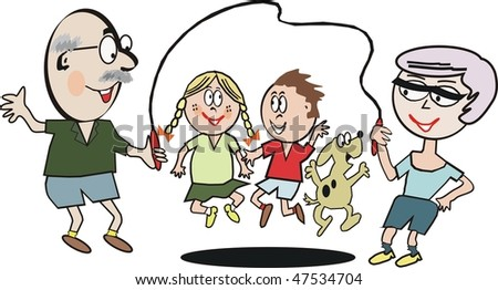 Cartoon of happy family group skipping rope.
