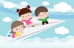 Cartoon of happy three kids flying on a paper airplane in the cloudy sky. Vector illustration isolated on background, children back to school concept